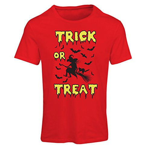 lepni.me T Shirts for Women Trick or Treat - Halloween Witch - Party outfites - Scary Costume (Small Red Multi Color) -