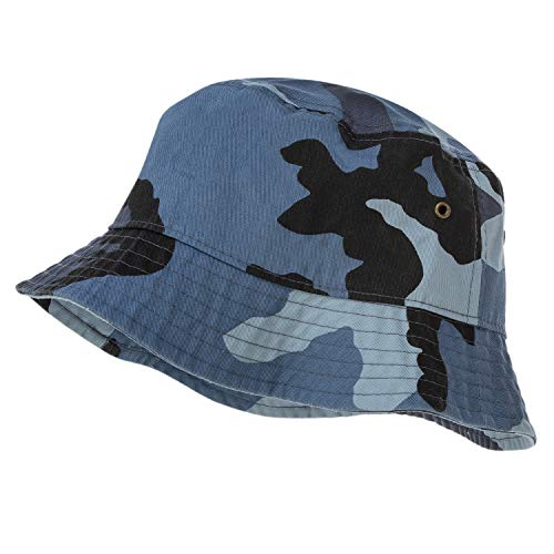 Bandana.com 100% Cotton Bucket Hat for Men, Women, Kids - Blue Camo - Single Piece - Large/Extra Large Size - Summer Cap Fishing Hat]()