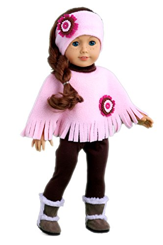 - DreamWorld Collections - Pink Poncho - 4 Piece Outfit - Pink Fleece Poncho, Matching Headband, Brown Leggings and Brown Sherpa Boots - Clothes Fits 18 Inch American Girl Doll (Doll Not Included)
