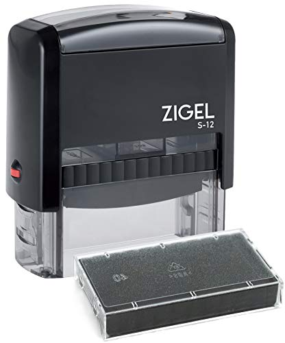 """ZIGEL S+12 Self Inking Rubber Stamp 3/4"""" x 1-7/8"""" with Extra"""