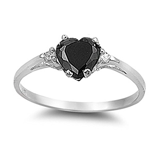 Sac Silver  Sterling Silver Black Simulated CZ  Heart Promise Ring, 3