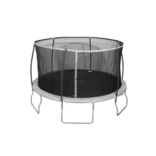 Sportspower 14 Foot Heavy Duty Outdoor Trampoline With Steelflex Enclosure Net and Poles