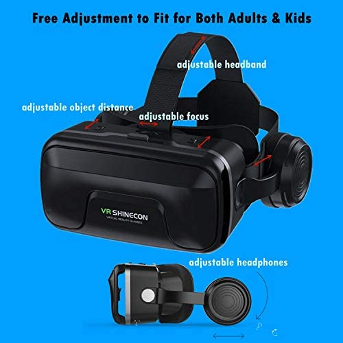 Immersive 3D VR Glasses Box Virtual Reality Headset Pro Version with Earphone Compatible for iPhone 11 Pro Samsung LG Moto HTC etc. 4.0-6.0inch Cellphone with Gift Wireless Remote Controller, Black 41pVOICDBFL