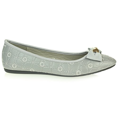 Flat Womens Toe Dolly Size Comfort Ballet On Grey LONDON Ladies Office Shoes Closed Ballerinas Pumps Work Slip AARZ Smart xtn5zR