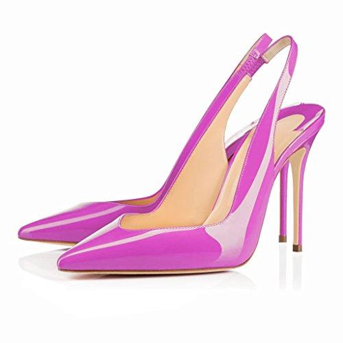 Gummiband Pumps Heels Rose Stiletto Slingback EDEFS Damenschuhe mit Damen Spitze Übergröße Zehen Lackleder gS6x1nqH