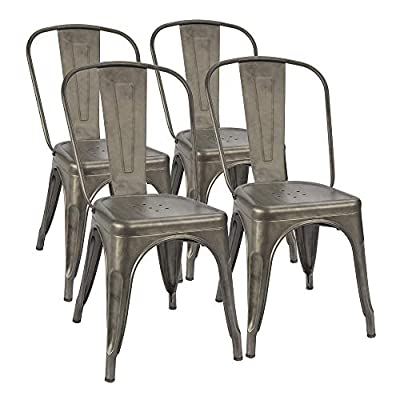 Furmax Metal Dining Chair Indoor-Outdoor Use Stackable Classic Trattoria Chair Chic Dining Bistro Cafe Side Metal Chairs Set of 4