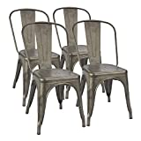 cheap dining table and chairs Furmax Metal Dining Chair Indoor-Outdoor Use Stackable Classic Trattoria Chair Chic Dining Bistro Cafe Side Metal Chairs Set of 4 (Gun)