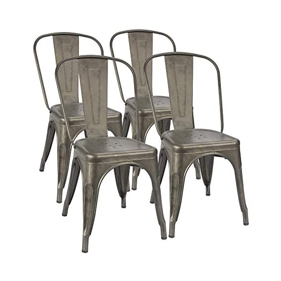 Furmax Metal Dining Chairs Set of 4 Indoor Outdoor Patio Chicken 18 Inch Seat Height Trattoria Chic Bistro Cafe Side Stackable,Gun - Style and occasion:Metal chair with simple style and gun metal,using indoors and outdoors,perfect for Kitchen, Cafe or Bistro. Easy assembly and premium material:Assembled within 10 minutes.Scratch and resistant steel,super durable.No-mark rubber feet keep them from sliding and scratching hardwood floors. Space saving and stability:Stackable for space saving and easy to carry.The seat has cross support at the bottom,which greatly increases the stability. - kitchen-dining-room-furniture, kitchen-dining-room, kitchen-dining-room-chairs - 41pVOkJw3EL. SS570  -