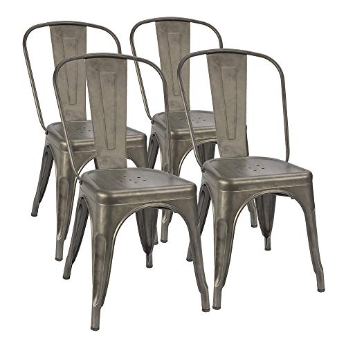 Furmax Metal Dining Chair Indoor-Outdoor Use Stackable Classic Trattoria Chair Chic Dining Bistro Cafe Side Metal Chairs Set of 4 (Gun) Dining Room Metal Bench