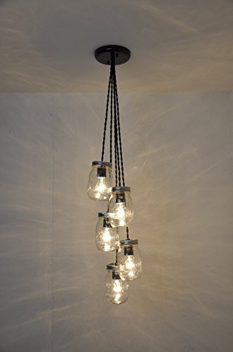 5 Mason Jar Chandelier Pendant Light Fixture