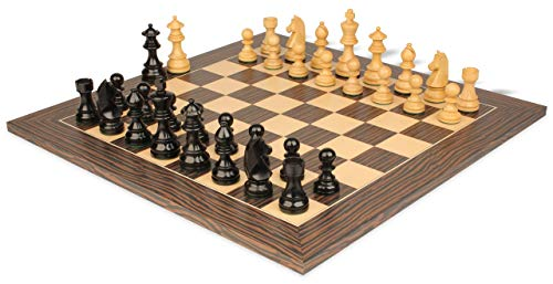 German Knight Staunton Chess Set Ebonized & Boxwood Pieces with Tiger Ebony Deluxe Chess Board- 2.75