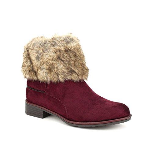 Creamoda Revers Cendriyon Bottine Chaussures Femme Bordeaux Fourrure 5tqFw8q