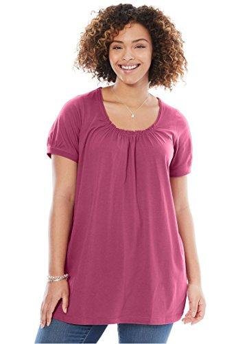 Women's Plus Size Perfect Shirred U-Neck Tunic Soft Magenta,2X