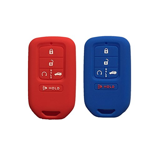 Red and Navy Blue Silicone Key Cover Case Holder Chain Bag Key Fob Case Cover fit for 2015 2016 2017 Honda Civic Accord Pilot CR-V ()
