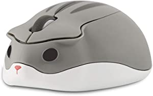 CHUYI Cute Animal Wireless Mouse Cartoon Hamster Shape Mini Travel Mouse 1200DPI Novelty Portable Optical Unique Small Cordless Mice with USB Receiver for Computer Laptop PC (Grey)