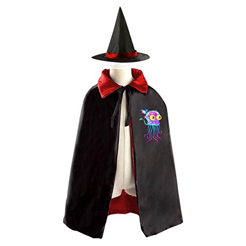 DIY Jellyfish Dragon Costumes Party Dress Up Cape Reversible with Wizard Witch Hat