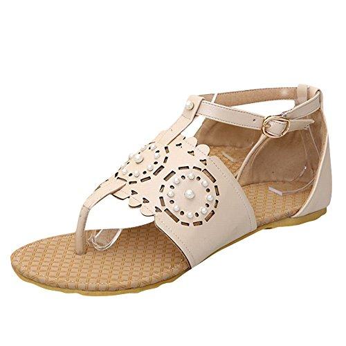 Carol Shoes Women's Cute Sweet Flat Hollow Pattern Beaded Thong Sandals Beige QG6Dwg