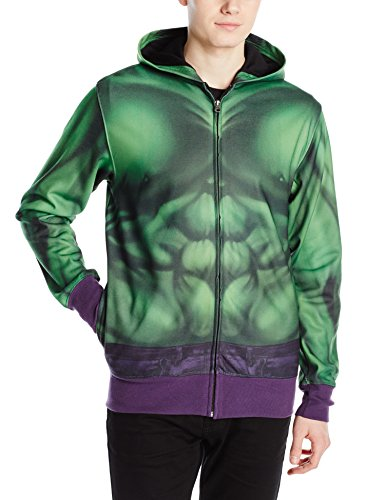 Marvel Men's Buff Hulk Sublimated Costume Fleece, Green, Small