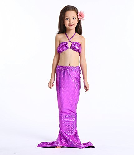 Newland Girl's Kids Princess Mermaid Tail Sea-maid Bikini Swimwear Bathing Suit Purple 120 (Mermaid For Kids)