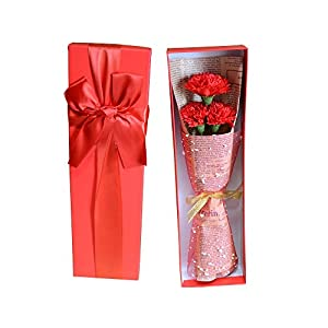 Artificial & Dried Flowers - 3 Head Carnation Soap Artifical Flower With Gift Box Birthday Teacher 39 S Mothers Day Romantic - Cemetery Breath Outdoors Black Plants Basket Wall White Wholes 20