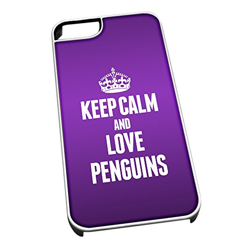 Bianco cover per iPhone 5/5S 2465 viola Keep Calm and Love Penguins