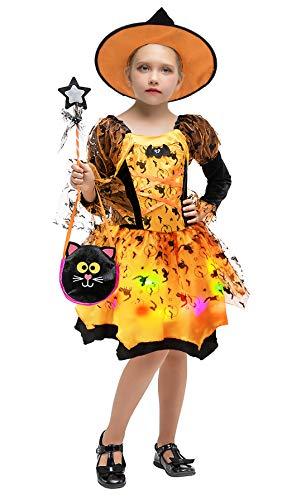 Cloudkids Girls Halloween Witch Costumes Light-up Kids