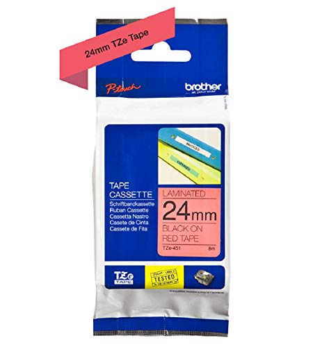 Ribbon Red Cassette - Brother TZe-451 24 mm (W) x 8 m (L) Labelling Tape Cassette Laminated Brother Genuine Supplies, Black on Red
