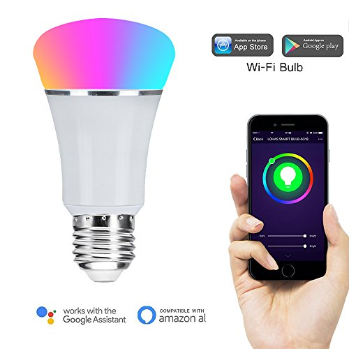 Wi-Fi Smart LED Light Bulb, GOXMGO Dimmable 60W Equivalent(7W), Smartphone Controlled Multicolored Color Changing...