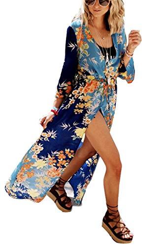 Floral Kimono Womens Long Kimono Loose Kimono Open Front Cardigan Beachwear Maxi Dress (3350) ()
