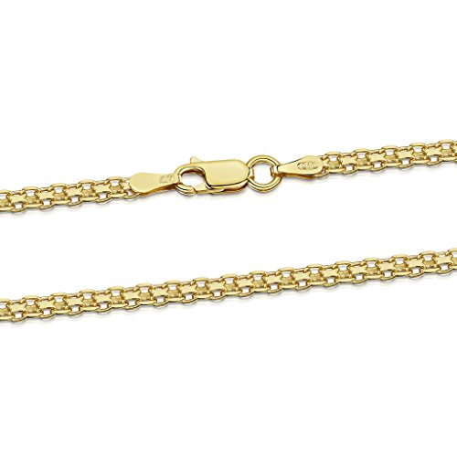 Amberta 18K Gold Plated on 925 Sterling Silver 2.2 mm Bismark Chain Necklace 18 20 22 24 in