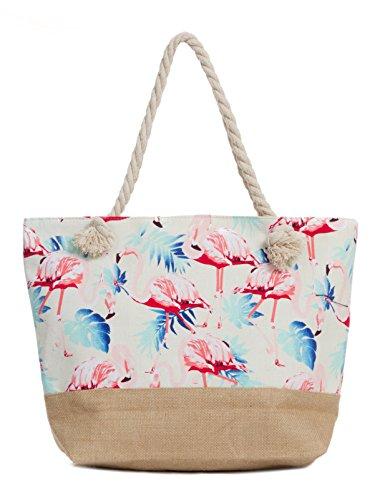 Leisureland Canvas Tote Beach Bag, Water Resistant Shoulder Tote Bag (L20 xH15 xW6, Flamingo White) by Leisureland
