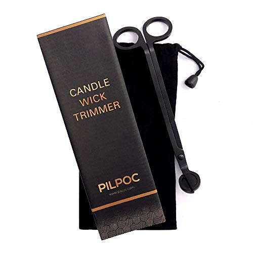 PILPOC Candle Wick Trimmer, Wick Clipper, Wick Cutter, Candle Accessory, Polished Stainless Steel Wick Trimmer, Exclusive Complete Gift Set (Black)