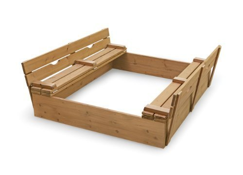 Two Bench Sandbox That Can Be Covered When Not In Use - Badger Basket Covered Convertible Cedar Sandbox with Two Bench Seats, Natural