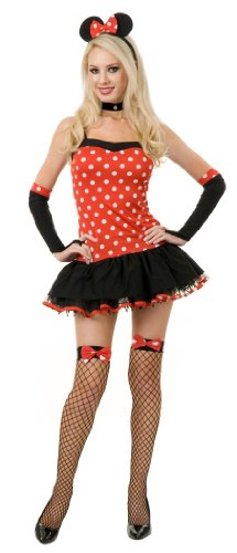 Disney Character Costumes For Couples (Miss Mouse Hottie Costume - Large)