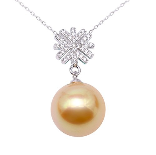 11mm South Sea Pearl Pendant (JYX Sterling Silver 11mm Golden South Sea Cultured Pearl Pendant Necklace Dotted with Zircons)