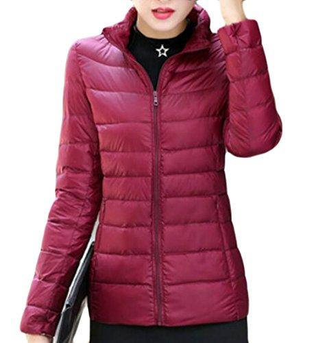Wine Down Jackets Collar Stand Short Women's MU2M Puffer Coats Red Packable Lightweight 1qROnwv
