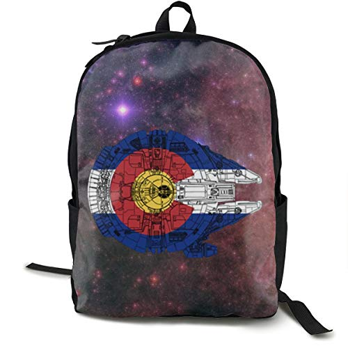 (Ertregysrtg Colorado Flag and The Millennium Falcon Stylish School Backpack Bookbags College Bags Satchel Travel Bag Daypack Classic Backpack)