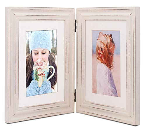 Double 6x8 White Hinged Wood Picture Frames, with