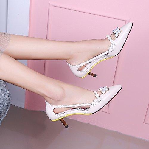 Jqdyl High Heels Weibliche Sandalen Fruuml;hling Sommer Stiletto Heels Schmetterling  34|White