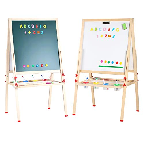 GEMEM Adjustable Wooden Easel Board Double Sided Children Art Easels Chalkboard Magnetic Dry Erase Board with Paper Roll and Accessories for Kids Toddlers Painting and Drawing