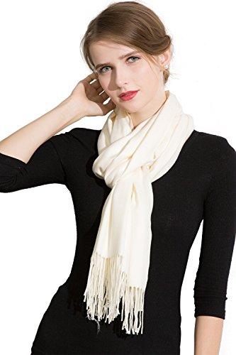 JIUMAN Womens Large Soft Cashmere Feel Pashmina Scarf Cozy Shawl Wraps Winter Stoles,Cream,One Size by JIUMAN