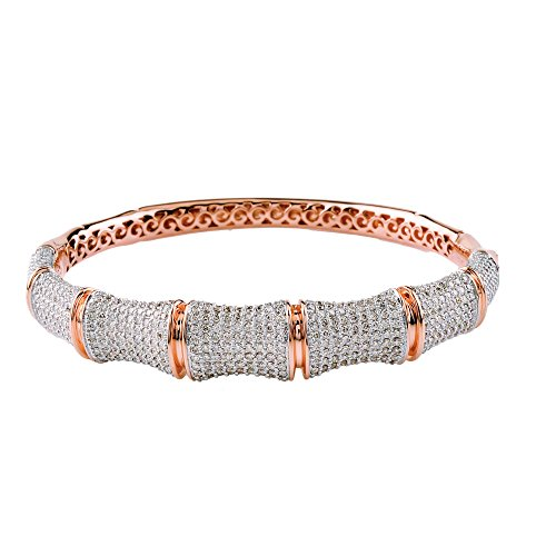 D'sire 18K Yellow Gold Diamond Bangle Bracelet TDW 4.169 ()
