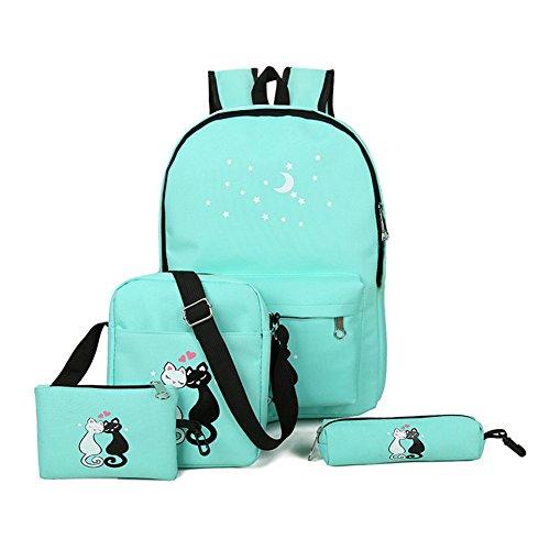 Espeedy Mochila de la escuela,4 piezas adolescentes cute gato imprimir mochila conjunto bolso unisex mochila escuela bolsos de bandolera estuche verde
