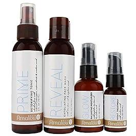 Amalou Skin – Complete Regimen Kit – Reveal Exfoliating Face Wash, Prime Detoxifying Tonic, Glow Balancing Moisturizer and Restore Night Treatment, Natural Anti-Aging Skin Care Set
