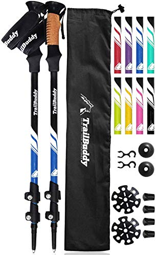 TrailBuddy Lightweight Trekking Poles - 2-pc Pack Adjustable Hiking or Walking Sticks - Strong Aircraft Aluminum - Quick Adjust Flip-Lock - Cork Grip, Padded Strap (Lake Blue) from TrailBuddy