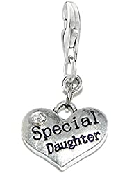 Special Daughter Charm for European Clip on Jewelry w/ Lobster Clasp