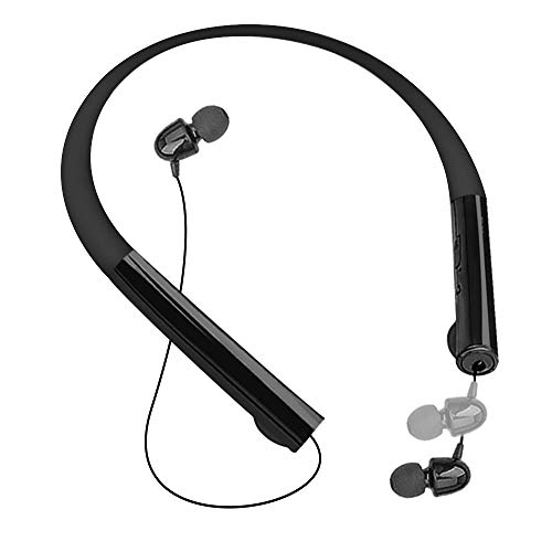 Pianogic Bluetooth Headphones Wireless Neckband Headset with Retractable Earbuds Stereo Earphones with Mic, Sports Sweat Proof Noise Cancelling (Black)