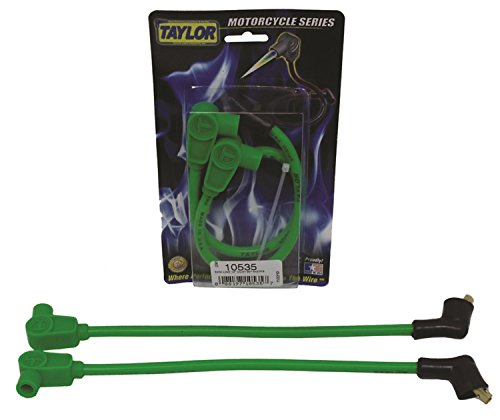 Taylor Cable 10535 8mm Spiro-Pro Motorcycle Ignition Wire Set Custom Fit Lime 90 deg. Boots For Use w/Center Mount Coil 8mm Spiro-Pro Motorcycle Ignition Wire Set