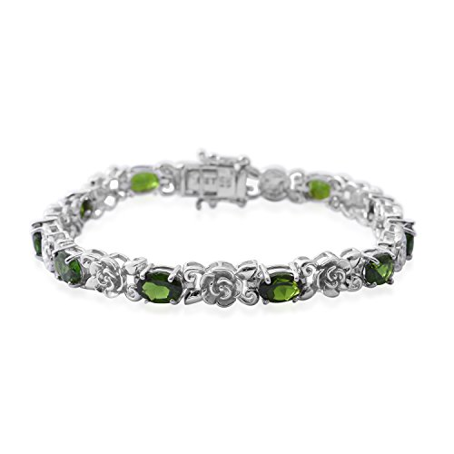 Diopside Sterling Silver Tennis Bracelet For Women 6.9 Cttw Size 8.00'' by Shop LC