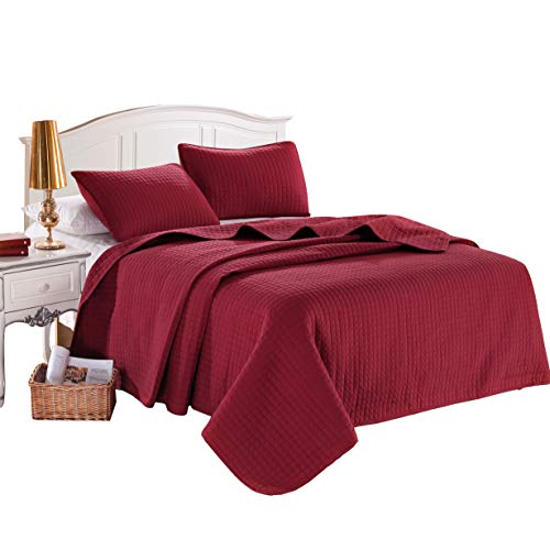 "KING BURGUNDY Solid color Quilted Bedspread Coverlet(96""x102"") +2 Standard shams (20""x26"")Hypoallergenic Overfilled Bed-cover for homes,hotels/motels, rentals polyester filling 120 gsm - 5.22 lbs ()"